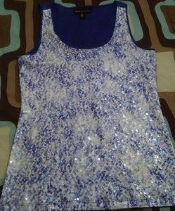 Dana Buchman sequin top blue sz XS/S